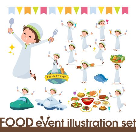 A set of boy on food events.There are actions that have a fork and a spoon and are having fun.It's vector art so it's easy to edit. Stock fotó - 130306902