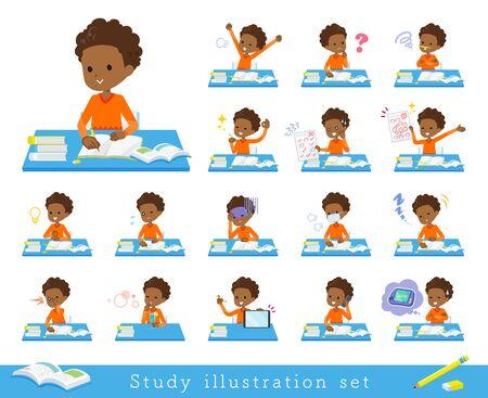 Un conjunto de niño en estudio. Hay varias emociones y acciones. Es arte vectorial, por lo que es fácil de editar.