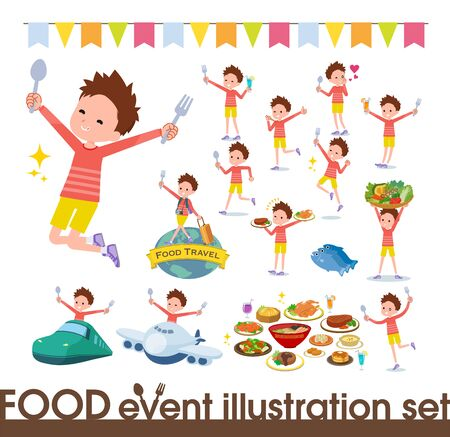 A set of boy on food events.There are actions that have a fork and a spoon and are having fun.It's vector art so it's easy to edit. Stock fotó - 130306911