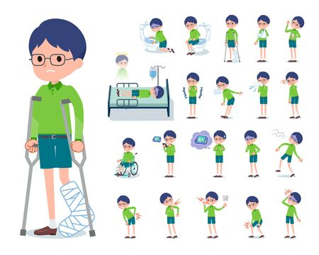 A set of boy with injury and illness.There are actions that express dependence and death.Its vector art so its easy to edit.