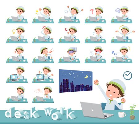 A set of boy on desk work.There are various actions such as feelings and fatigue.Its vector art so its easy to edit. Illustration