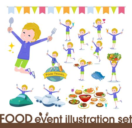 A set of boy on food events.There are actions that have a fork and a spoon and are having fun.It's vector art so it's easy to edit. Stock fotó - 130307033