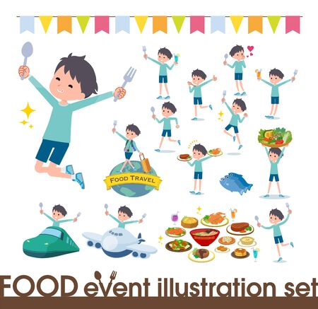A set of boy on food events.There are actions that have a fork and a spoon and are having fun.It's vector art so it's easy to edit. Stock fotó - 130307036