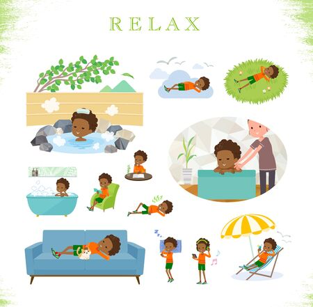 A set of boy about relaxing.There are actions such as vacation and stress relief.Its vector art so its easy to edit.