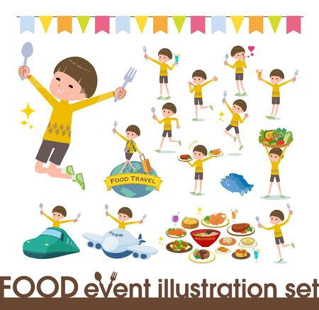 A set of boy on food events.There are actions that have a fork and a spoon and are having fun.Its vector art so its easy to edit.