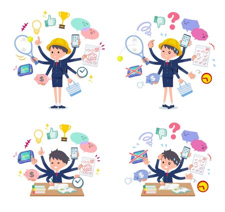 A set of boy carrying school bag who perform multitasking in the school.There are things to do smoothly and a pattern that is in a panic.Its vector art so its easy to edit.