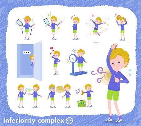 A set of boy on inferiority complex.There are actions suffering from smell and appearance.Its vector art so its easy to edit. Illusztráció