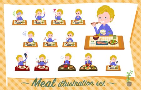 A set of boy about meals.Japanese and Chinese cuisine, Western style dishes and so on.Its vector art so its easy to edit.