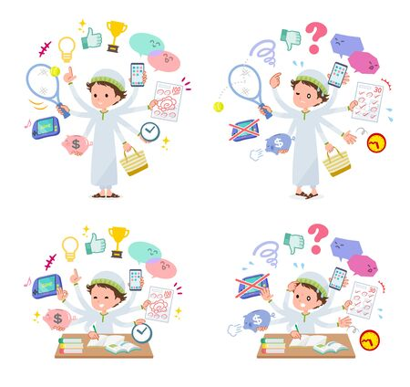 A set of boy who perform multitasking in the school.There are things to do smoothly and a pattern that is in a panic.Its vector art so its easy to edit.