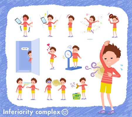 A set of boy on inferiority complex.There are actions suffering from smell and appearance.Its vector art so its easy to edit. Çizim