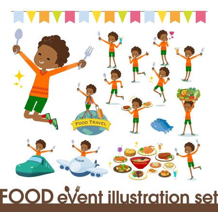 A set of boy on food events.There are actions that have a fork and a spoon and are having fun.It's vector art so it's easy to edit. Stock fotó - 130307089