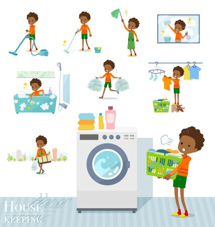 A set of boy related to housekeeping such as cleaning and laundry.There are various actions such as child rearing.It's vector art so it's easy to edit.