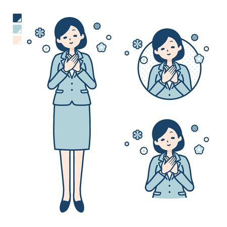 A young Business woman in a suit with Rest images. Its vector art so its easy to edit.   Illusztráció