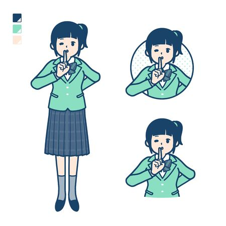 A student girl in a green blazer with be quiet hand sign images.