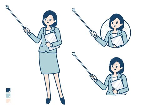 A young Business woman in a suit with Explanation with a pointing stick image. Its vector art so its easy to edit.