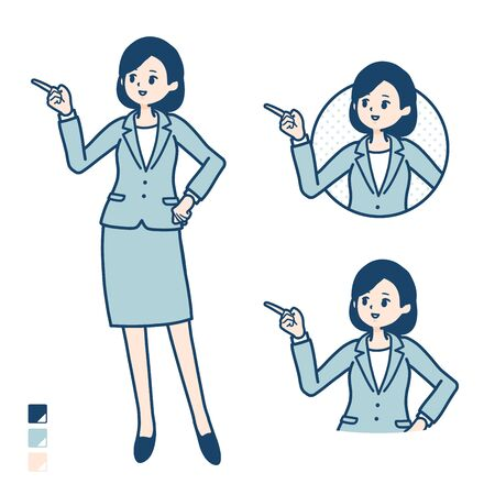 A young Business woman in a suit with Explanation Pointing image. Its vector art so its easy to edit.