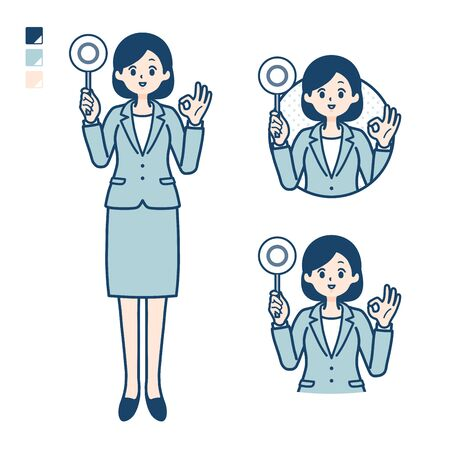 A young Business woman in a suit with Put out a circle panel image. Its vector art so its easy to edit.   Ilustração