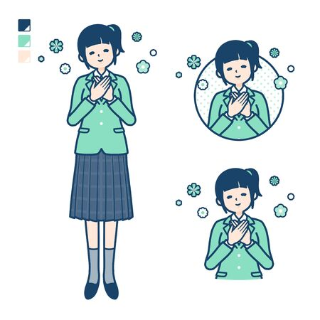 A student girl in a green blazer with Rest images. Its vector art so its easy to edit.