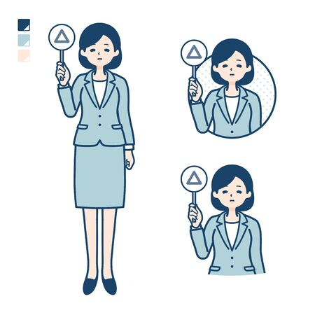 A young Business woman in a suit with Put out a Triangle panel image. Its vector art so its easy to edit.   Ilustração