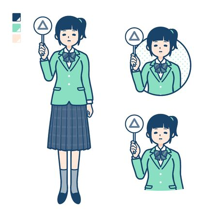 A student girl in a green blazer with Put out a Triangle panel image. Its vector art so its easy to edit.   Ilustração