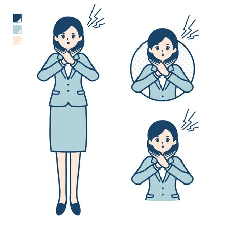A young Business woman in a suit with Making a Cross with arms images. Its vector art so its easy to edit.