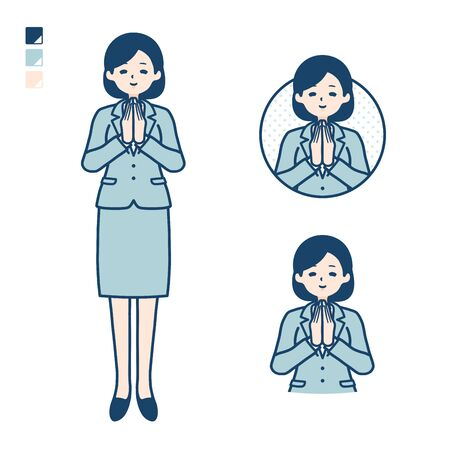 A young Business woman in a suit with press hands in prayer images. Its vector art so its easy to edit.   Ilustração