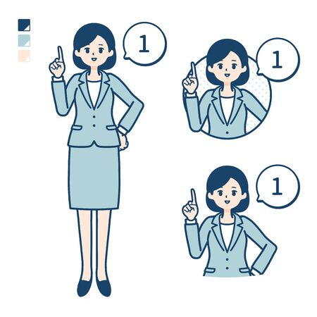 A young Business woman in a suit with Counting as 1 images. Its vector art so its easy to edit.