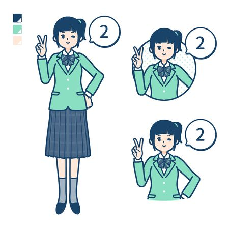 A student girl in a green blazer with Counting as 2 images. Its vector art so its easy to edit.