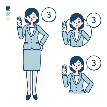A young Business woman in a suit with Counting as 3 images. Its vector art so its easy to edit.