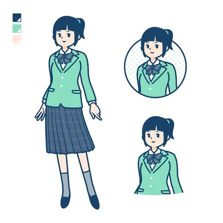 A student girl in a green blazer with Relaxed pose images. Its vector art so its easy to edit.