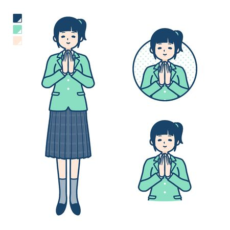 A student girl in a green blazer with press hands in prayer images. Its vector art so its easy to edit.