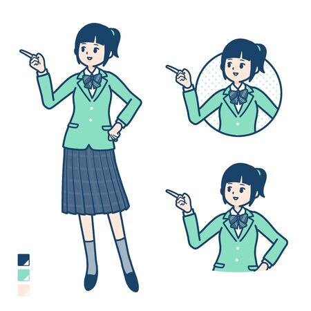 A student girl in a green blazer with Explanation Pointing image. Its vector art so its easy to edit.
