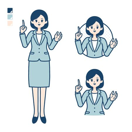 A young Business woman in a suit with speaking image. Its vector art so its easy to edit.