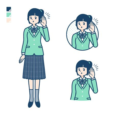 A student girl in a green blazer with Listening images. Its vector art so its easy to edit.