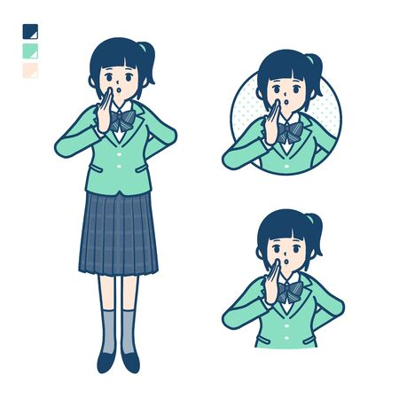 A student girl in a green blazer with Whispering images. Its vector art so its easy to edit.   Illusztráció