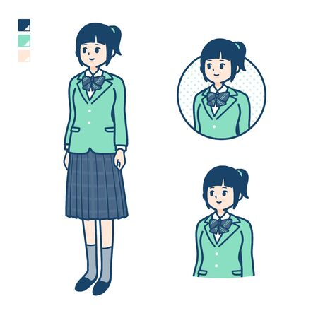 A student girl in a green blazer with Looking sideways images.