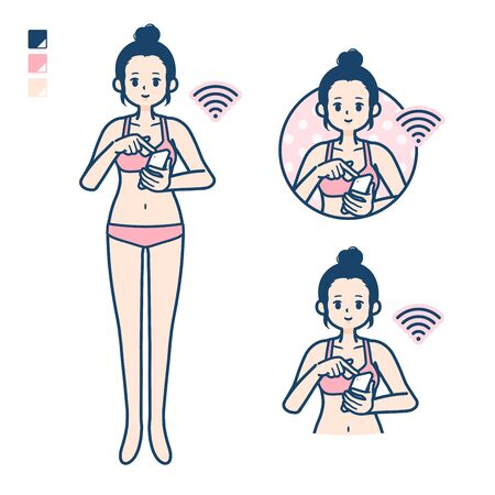 A young woman in a underwear with Operate smartphone images. Its vector art so its easy to edit.   Иллюстрация