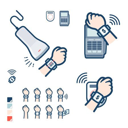 This is an illustration of various payment methods using a smartwatch.It's vector art so it's easy to edit.
