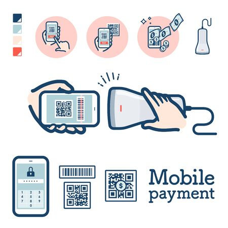 Illustration der QR-Code-Zahlung per Smartphone. Es handelt sich um Vektorgrafiken, die leicht zu bearbeiten sind. Vektorgrafik