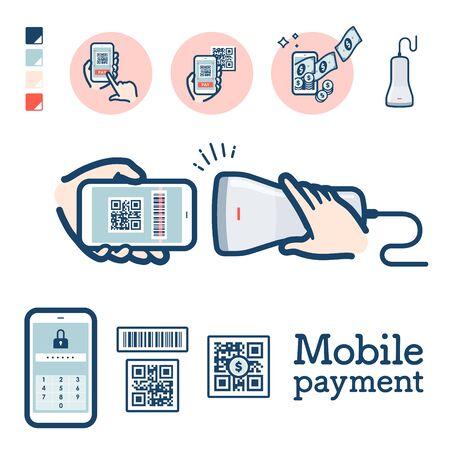 Ilustracja płatności za pomocą kodu QR przez smartfon. To grafika wektorowa, więc łatwo ją edytować. Ilustracje wektorowe