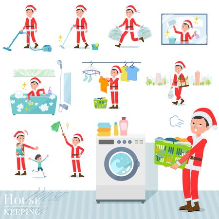 A set of Santa Claus costume men related to housekeeping such as cleaning and laundry.There are various actions such as child rearing.Its vector art so its easy to edit.