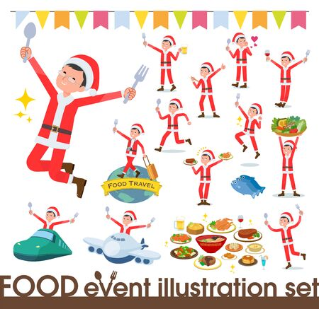 A set of Santa Claus costume men on food events.There are actions that have a fork and a spoon and are having fun.Its vector art so its easy to edit.