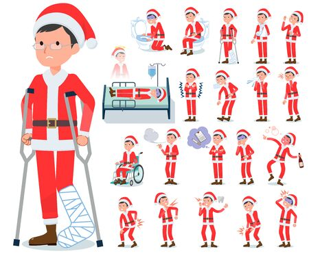 A set of Santa Claus costume men with injury and illness.There are actions that express dependence and death.It's vector art so it's easy to edit.