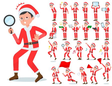 A set of Santa Claus costume men with digital equipment such as smartphones.There are actions that express emotions.It's vector art so it's easy to edit.