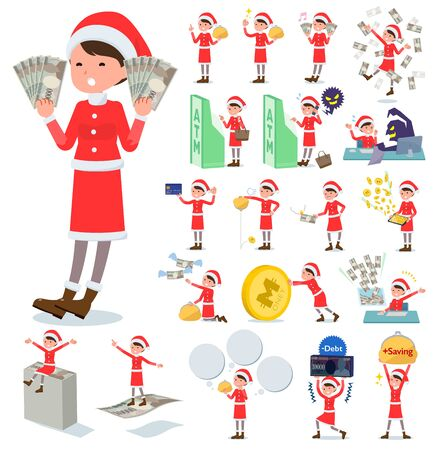 A set of Santa Claus costume women with concerning money and economy.There are also actions on success and failure.It's vector art so it's easy to edit.