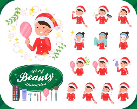 A set of Santa Claus costume women on beauty.There are various actions such as skin care and makeup.It's vector art so it's easy to edit. Stockfoto - 133801572
