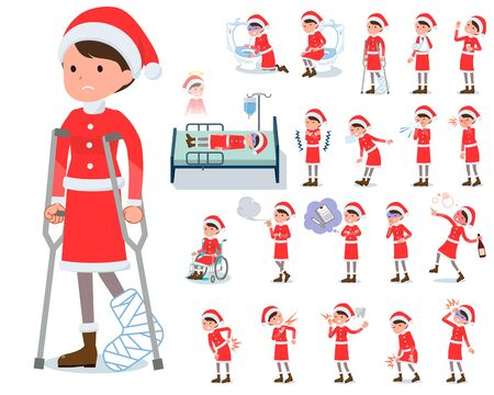 A set of Santa Claus costume women with injury and illness.There are actions that express dependence and death.Its vector art so its easy to edit.