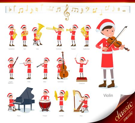 A set of Santa Claus costume women on classical music performances.There are actions to play various instruments such as string instruments and wind instruments.Its vector art so its easy to edit.