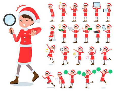 A set of Santa Claus costume women with digital equipment such as smartphones.There are actions that express emotions.Its vector art so its easy to edit.