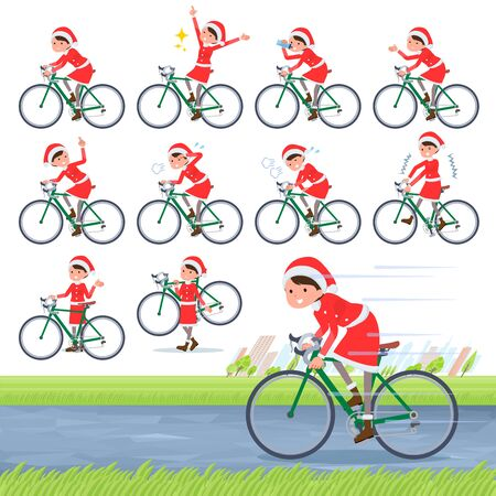 A set of Santa Claus costume women on a road bike.There is an action that is enjoying.Its vector art so its easy to edit.
